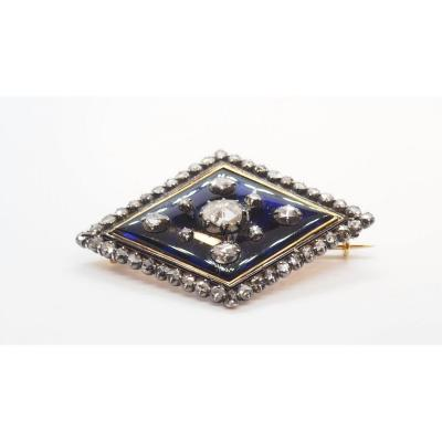 Old Blue Enamel And Diamonds Brooch