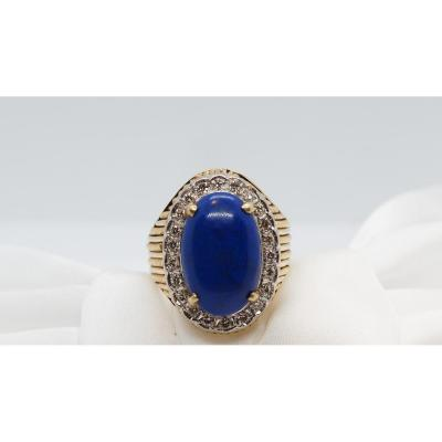 Yellow Gold Ring, Lapis Lazuli Cabochon And Diamonds