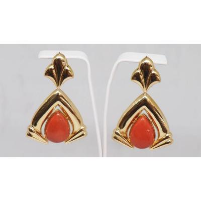 Vintage Earrings In Yellow Gold And Coral
