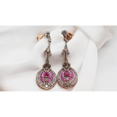 Earrings In Rose Gold And Silver, Set With Rubies And Diamonds