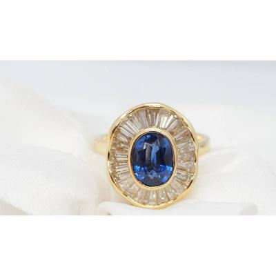 Skirt Ring In Yellow Gold, Oval Sapphire And Baguette Diamonds