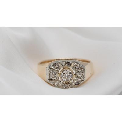 Art Deco Ring In Two-tone Gold And Diamonds