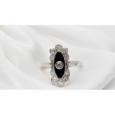 Art Deco Ring In Platinum, Onyx And Diamonds