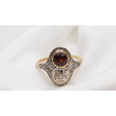 Antique Ring In Yellow Gold And Platinum, Set With Garnet And Diamonds
