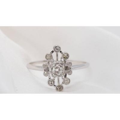 Old Ring In White Gold And Diamonds