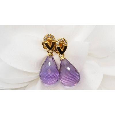 Earrings In Yellow Gold, Briolette Amethysts And Diamonds