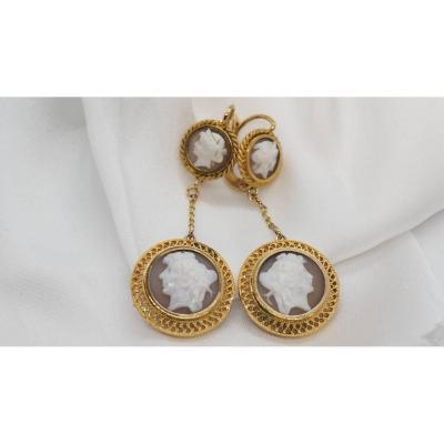 Antique Yellow Gold And Cameo Earrings