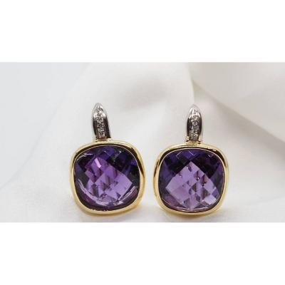 Earrings In Two Yellow Gold, Amethyst And Diamonds