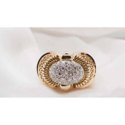 Tank Ring In Yellow Gold, Dome Paved With Diamonds