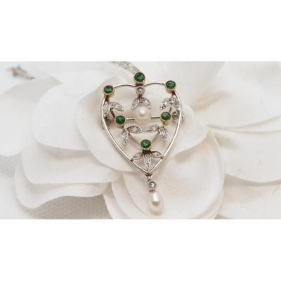 Two-tone Gold Pendant Adorned With Diamonds, Emeralds And Cultured Pearls