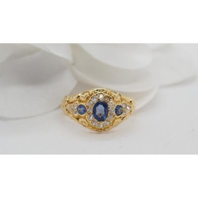 Vintage Ring In Yellow Gold, Blue Topaz And Diamonds