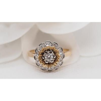 Flower Ring In Yellow Gold And Platinum
