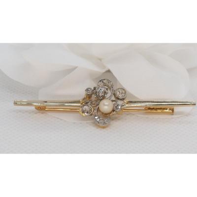 Broche Ancienne En Or Jaune et platine , Perle Fine Et Diamants