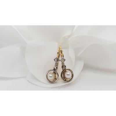 Boucles d'Oreilles Anciennes En Or Bicolore, Perles Fines Et Diamants Taille Roses