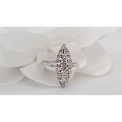 Bague Marquise En Or Gris Et Diamants