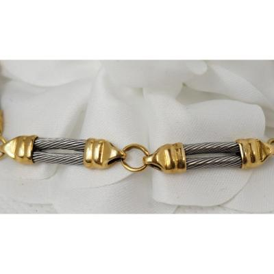 Bracelet Or Jaune Et Acier