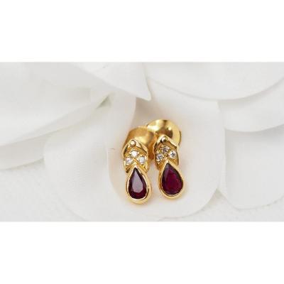 Boucles d'Oreilles En Or Jaune, Rubis Et Diamants