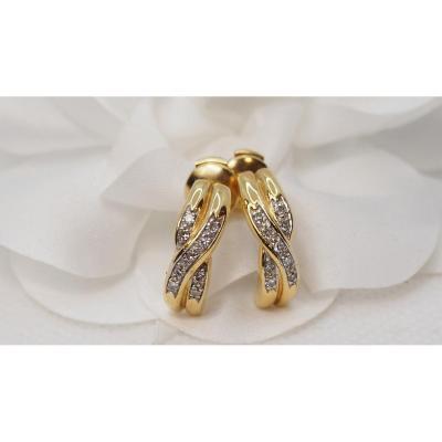 Boucles d'Oreilles En Or Jaune Et Diamants