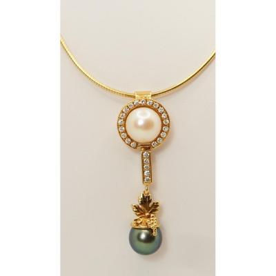 Collier En Or Jaune, Diamants Et Perles