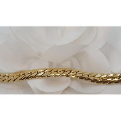 Bracelet En Or Jaune, Maille Anglaise