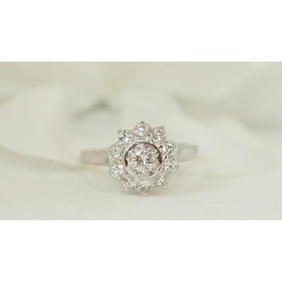 Bague Marguerite En Or Blanc Et Diamants