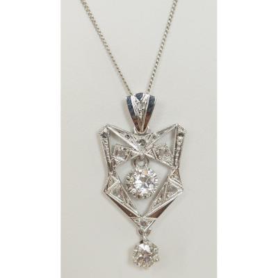 Collier Ancien En Or Blanc Et Platine Serti De Diamants
