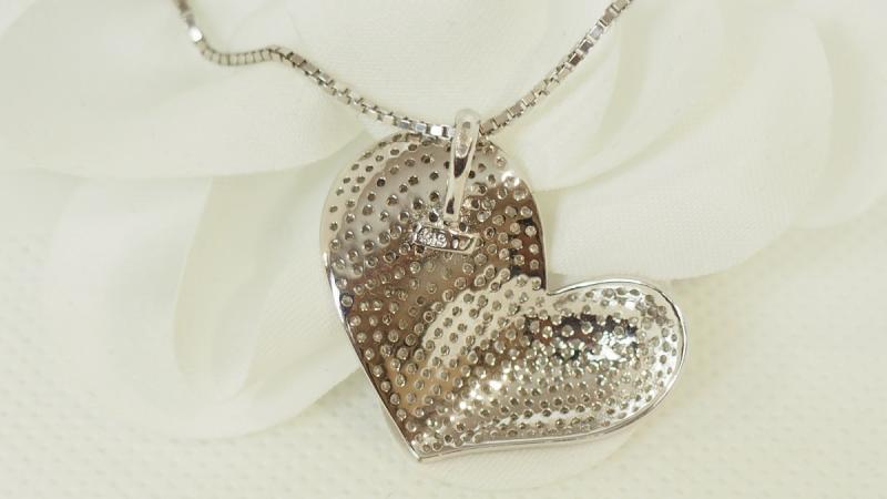 Collier Cœur En Or Blanc Et Diamants-photo-4
