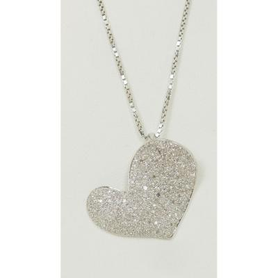 Collier Cœur En Or Blanc Et Diamants