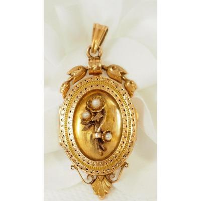 Pendentif Cassolette En Or Et Perles Fines