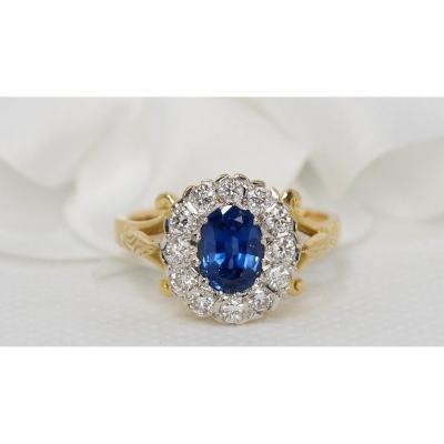 Bague En Or Jaune, Saphir Et Diamants