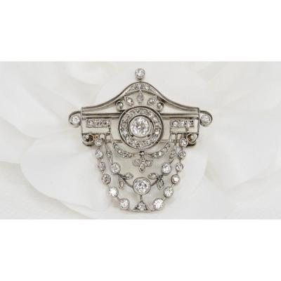 Old Brooch In White Gold And Diamonds