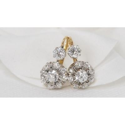 Pair Of Old Earrings In White Gold And Diamonds