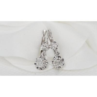 White Gold And Diamond Dormeuses Earrings