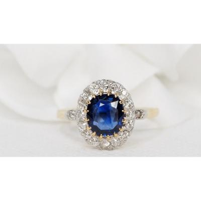 Bague Entourage En Or Bicolore, Saphir Ovale Et Diamants