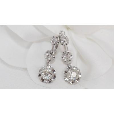 Pair Of Sleepers In White Gold And Diamonds