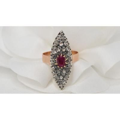 Marquise Ring In Two-tone Gold, Rubies And Roses