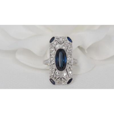 Antique Ring In Platinum, Oval Sapphire And Diamonds