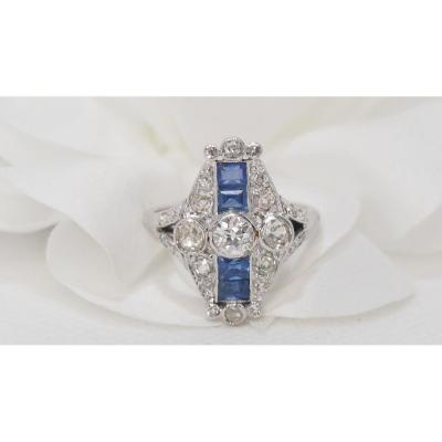 Octagonal Ring In Platinum, Calibrated Sapphires And Diamonds