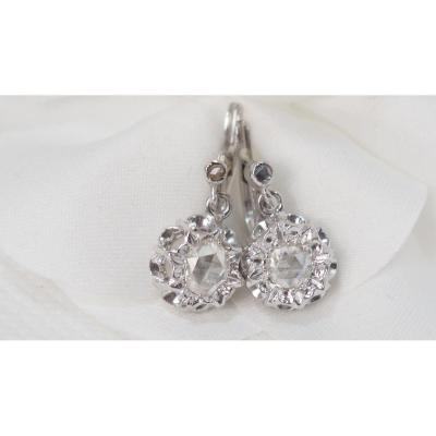Pair Of Sleepers In White Gold And Roses