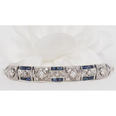 Bracelet In White Gold, Sapphires And Diamonds