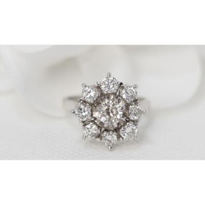 Bague Marguerite Importante En Platine Et Diamants