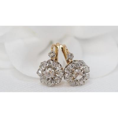 Pair Of Marguerite Sleepers Late Nineteenth In Gold And Diamonds