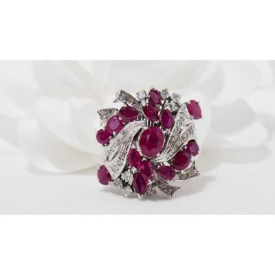Vintage Ring In White Gold, Rubies And Diamonds