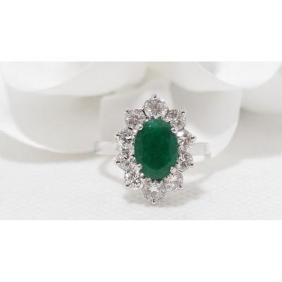 Bague Marguerite En Or Blanc Sertie d'Une émeraude Et Diamants