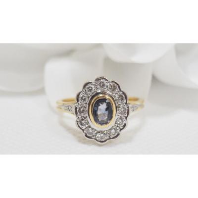Bague Marguerite En Or Bicolore, Saphir Et Diamants