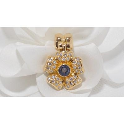 Pendant In Yellow Gold, Sapphire And Diamonds