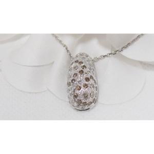 Collier En Or Gris Serti de Diamants blancs et diamants cognac