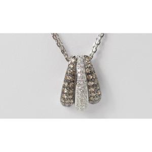 Collier Pendentif En Or Blanc Et Diamants