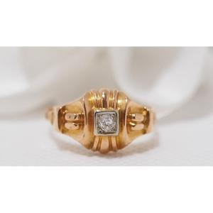Tank Ring In Yellow Gold And Diamond
