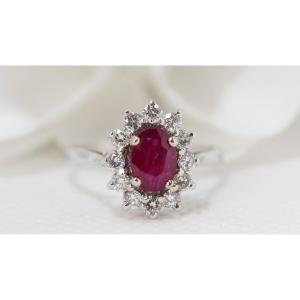 Marguerite Ring In White Gold; Rubies And Diamonds